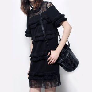 Endless Rose Black Fringe Caged Dress